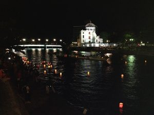 lantern floating, peace message, sadako