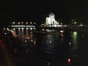 lantern floating, peace message, sadako